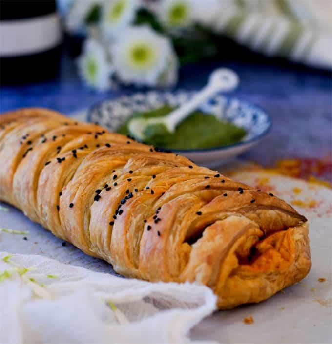 Achari paneer braided puff pastry