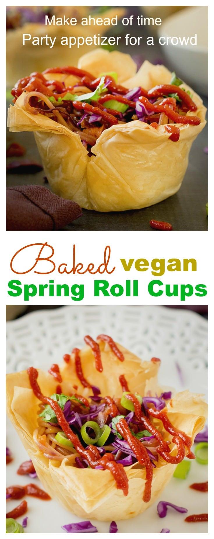 Baked deconstructed veg spring rolls - easy vegan appetizer