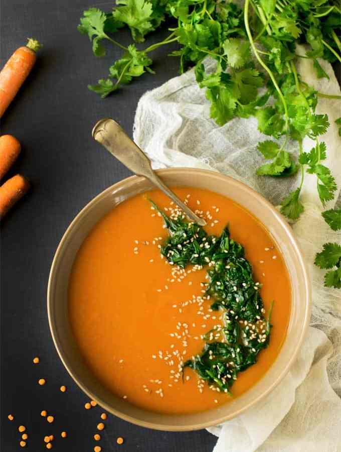 Beta Carotene booster vegetable & red lentil soup