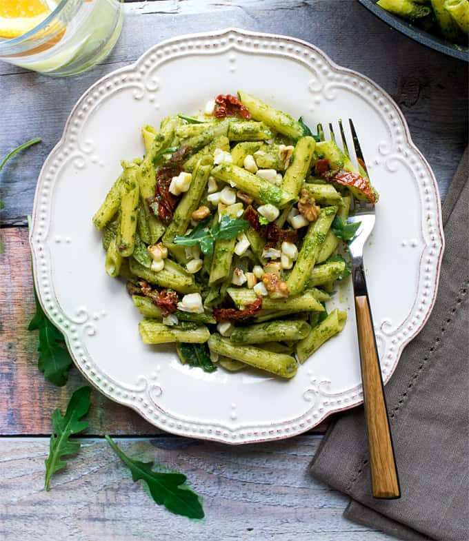 Quinoa pasta with arugula walnut pesto ( vegan + gluten free )