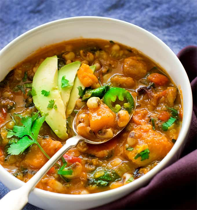 Instant Pot Black eyed peas lentils butternut squash chili