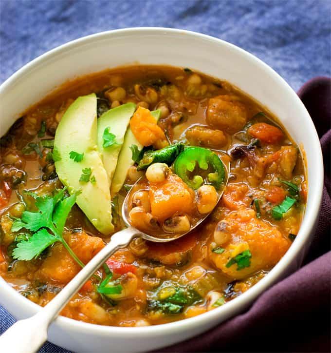 Instant Pot Black eyed peas lentils butternut squash chili