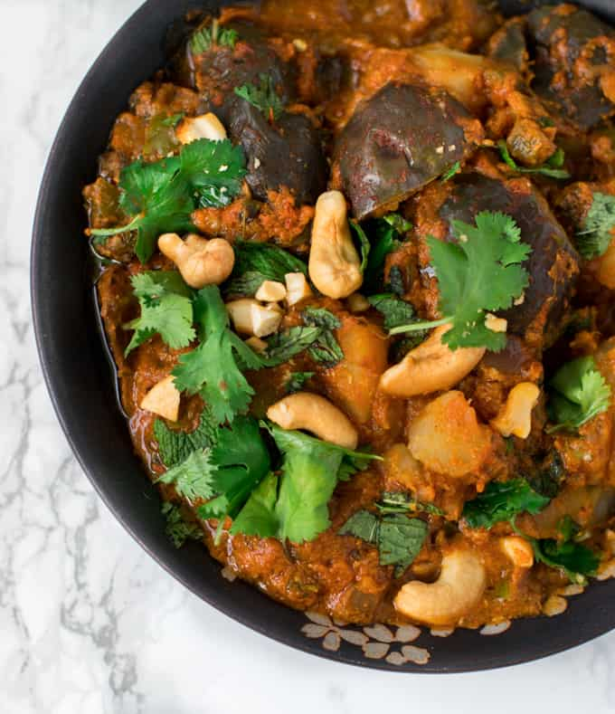 Instant Pot aloo baingan masala / potato eggplant curry