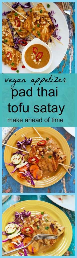 Vegan Pad thai style tofu satay skewers with peanut sauce
