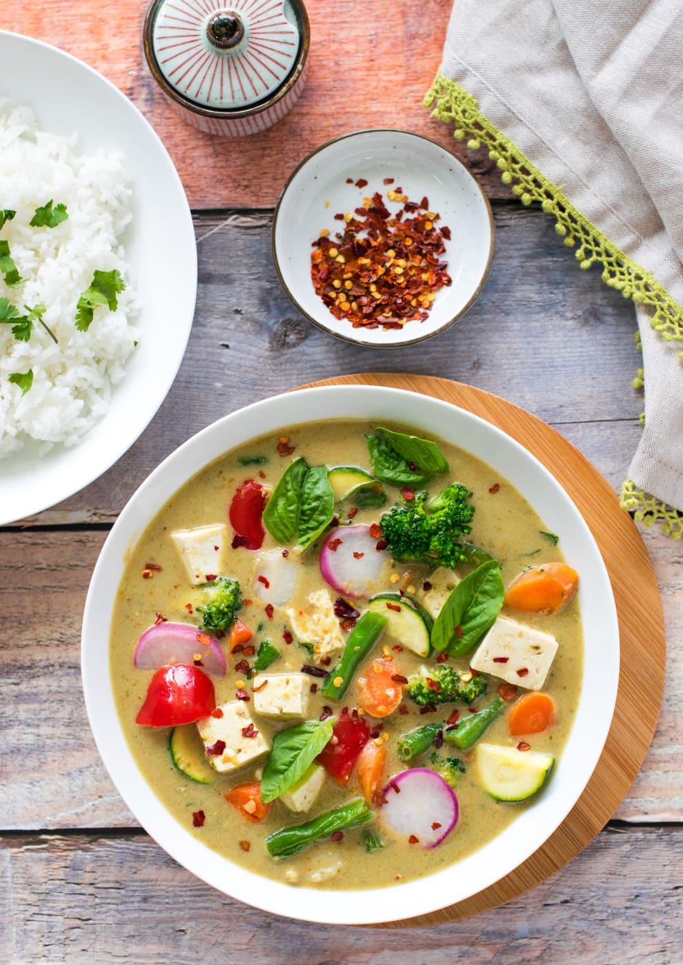 Almond Milk Vegetable Curry Vegan Low Carb