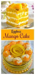 Easy eggless mango cake