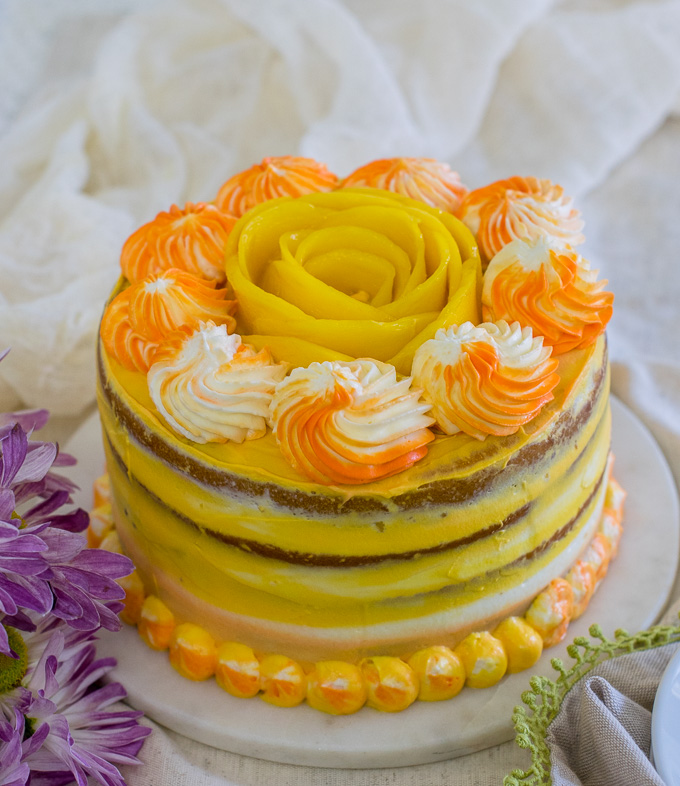 Eggless mango cake / mango cake recipe without butter and eggs