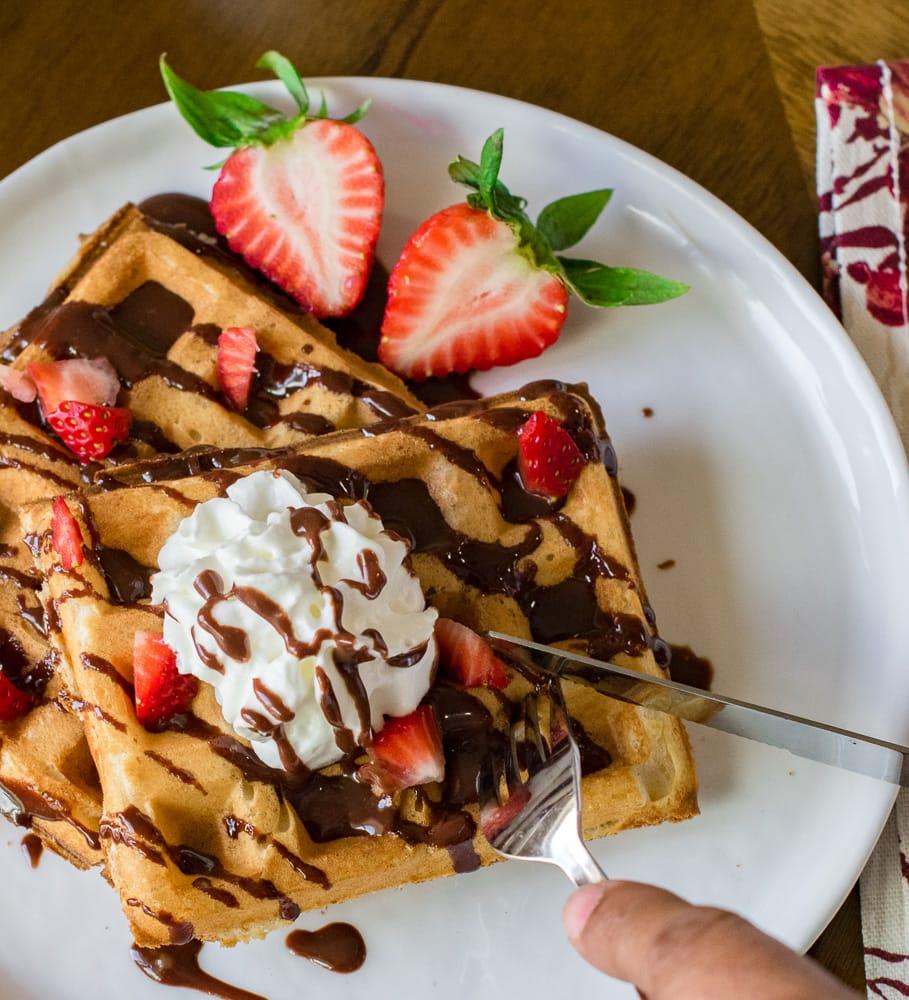Eggless Waffles Recipe Fluffy Amp Crispy Vegan Belgian