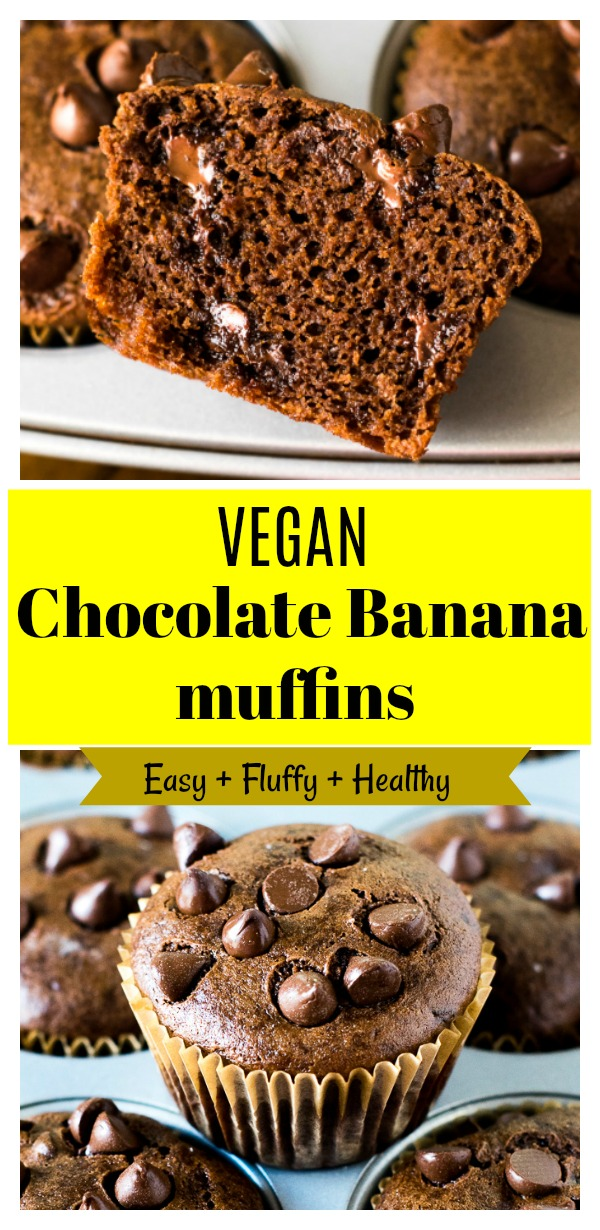 These Vegan banana chocolate muffins are tender , moist and fluffy without dairy or eggs. Made healthier with simple pantry ingredients. Gluten free option given. Decadent chocolate muffins ever! #vegan #bananamuffins