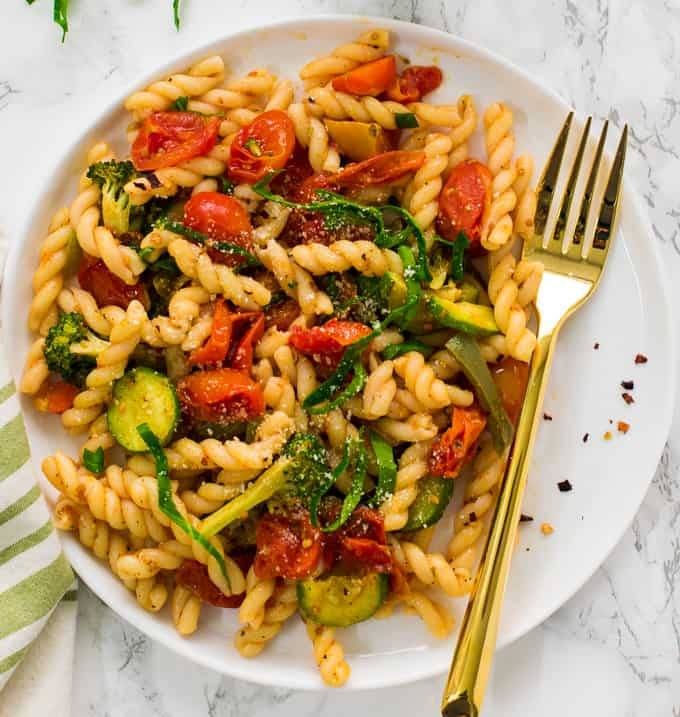 Vegan Pasta Primavera with roasted vegetables
