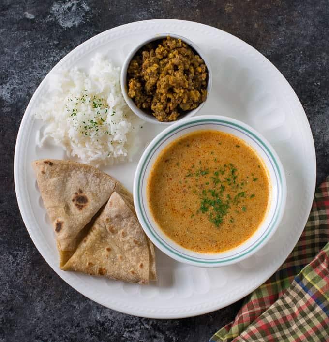 Instant Pot Moth bean kadhi & dry sabji (Rajasthani recipe)