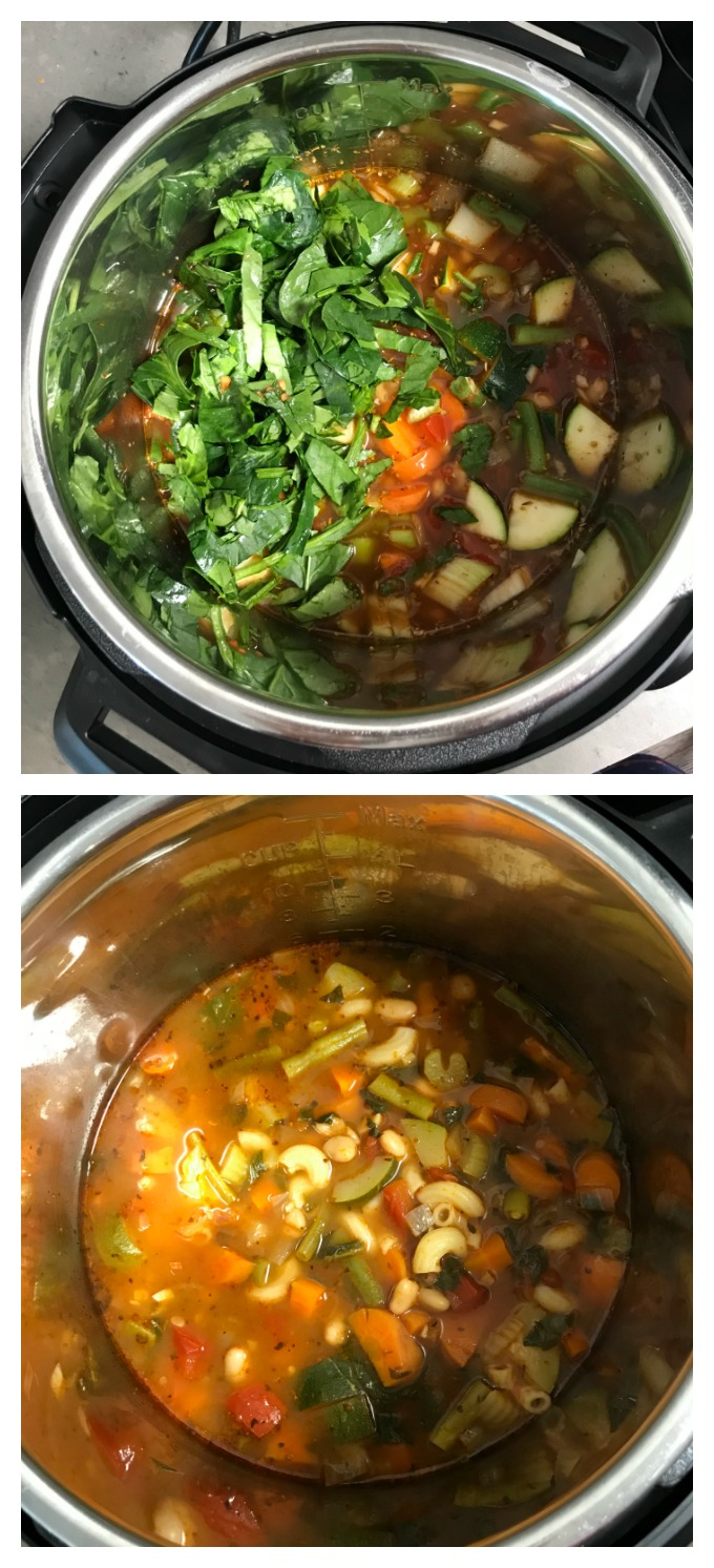 Instant pot minestrone soup inside the pot ready to be simmered.