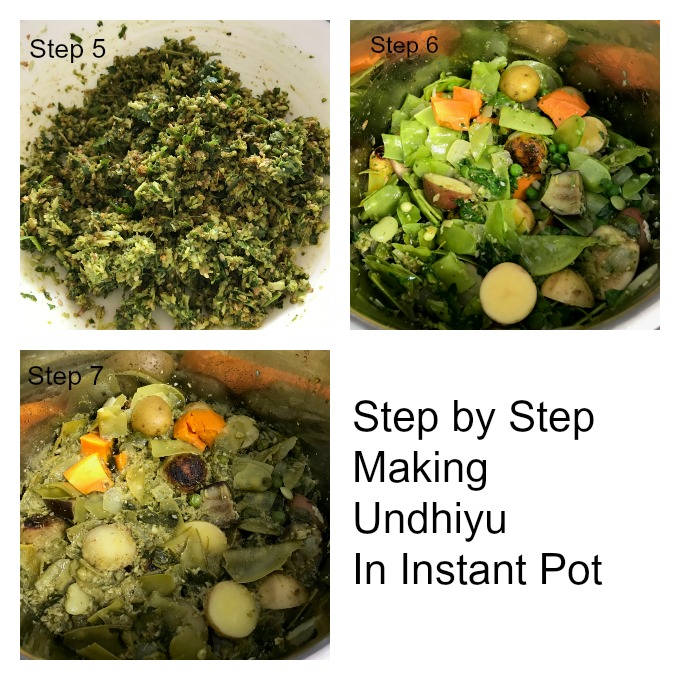 Continuing steps for making Undhiyu recipe in a pressure cooker Instant Pot