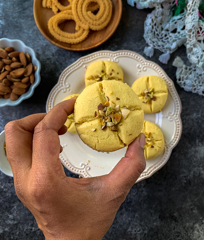 Indian eggless cookie with nuts.