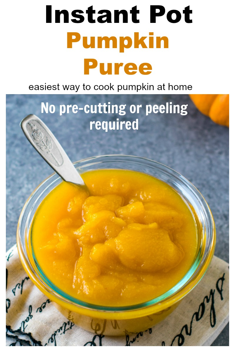 Pumpkin puree in a bowl with a spoon