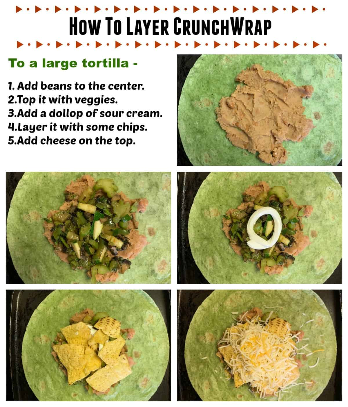 Layering the tortilla with beans and veggies
