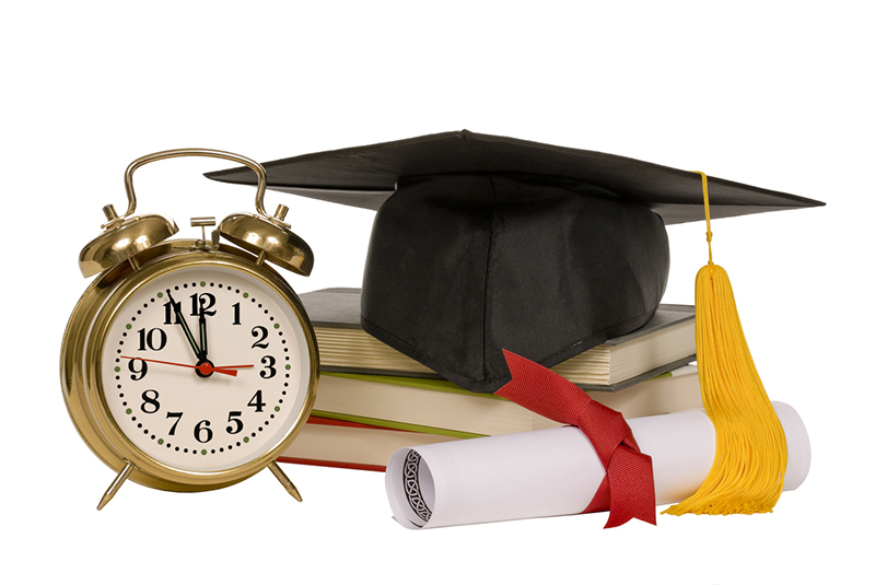 clock, diploma, education, certification, time, books
