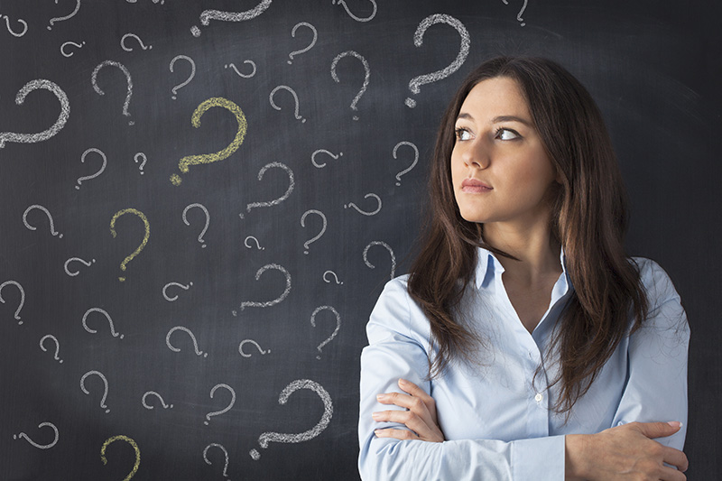 woman, customer, question marks, decision