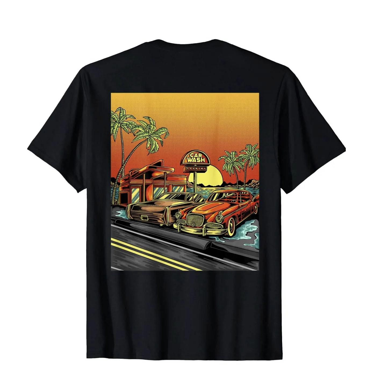 carwash country california sunset detailing t shirt back