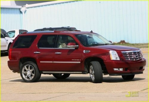 Britney Spears red Cadillac Escalade