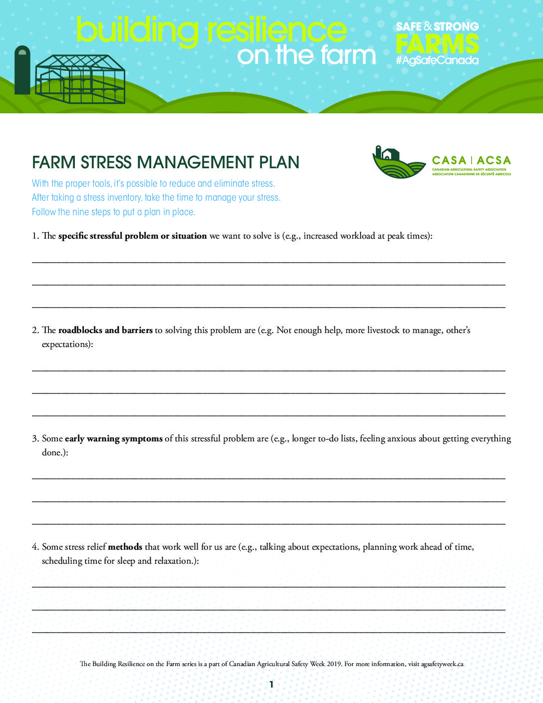 Farm Stress Management Plan Canadian Agricultural Safety