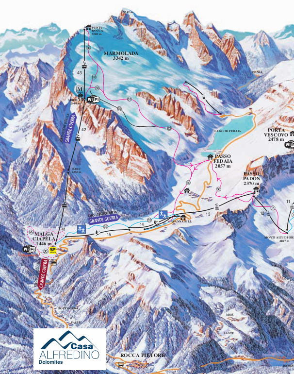 marmolada ski map