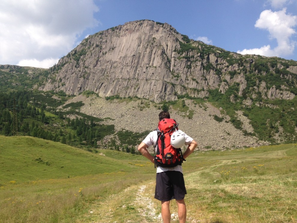 Mike surveying the crag from the road - 250m of solid igneous. BOOM.