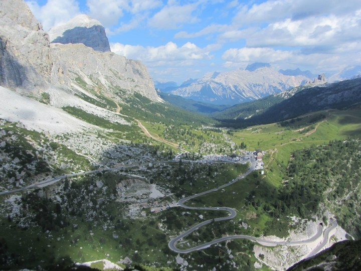 Looking out over Passo Falzarego towards Tofana di Rozes, Cinque Torri, and Averau.