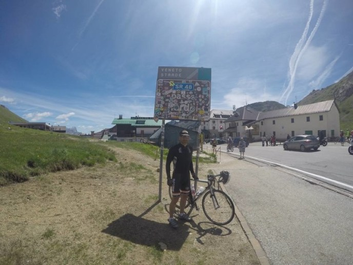 One of our guests reaches Passo Pordoi.