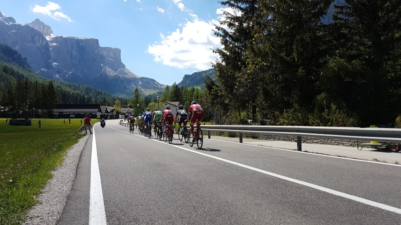 The Giro d'Italia flies through Corvara on the way to Passo Gardena, May 26th 2017.