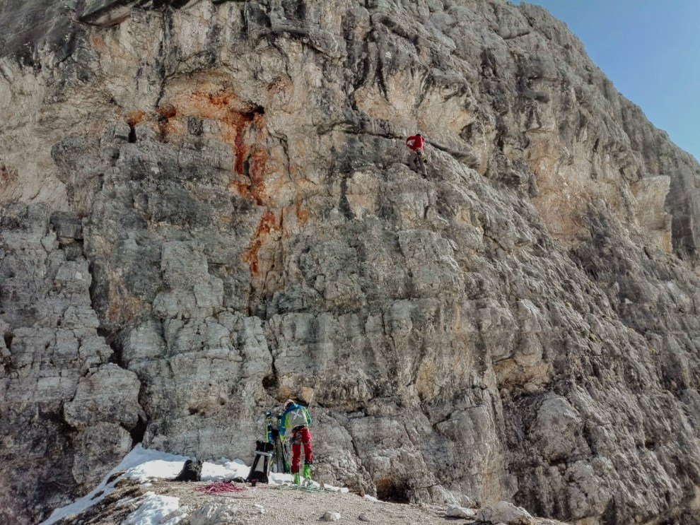 Climbing the first pitch of Via delle Guide, Cinque Torri
