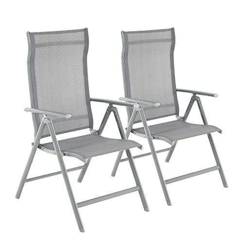 Deuba sedie da giardino set di 4 sydney pieghevoli in legno di acacia con braccioli. Grigio Timber Ridge Sedie Pieghevoli In Alluminio Regolabili In 6 Posizioni Con Braccioli Poggiatesta Per Giardino Pranzo Grigio Arredamento Casa E Cucina Zlineproducts Com