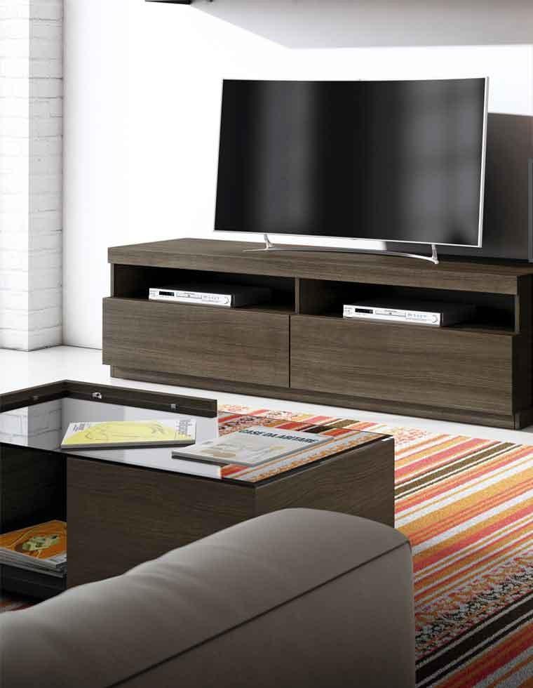 meuble tv graphite et chene 180cm casa square