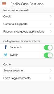 Attivare Facebook e Twitter App RCB