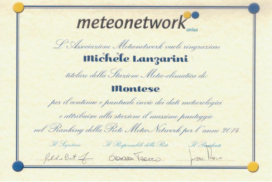 Attestato Meteonetwork Montese 2014