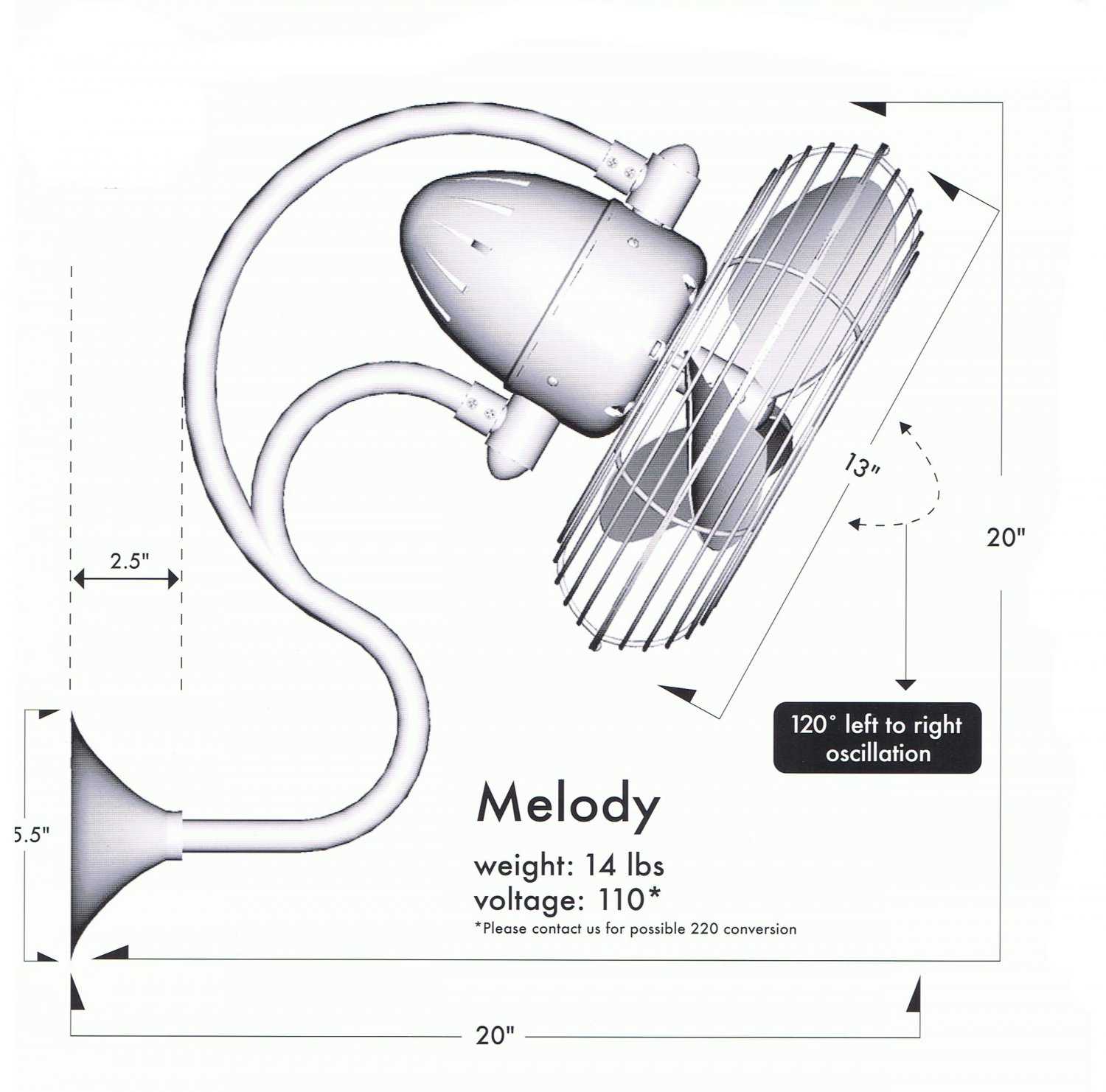 Melody Oscillating Wall Mount Fan Brushed Nickel 389 25