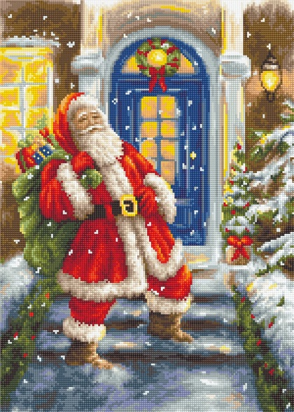 Santa Claus To The Door Needlepoint From Luca S