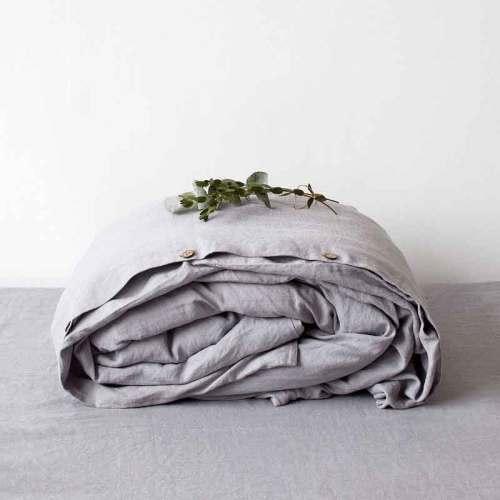 Lichtgrijs linnen dekbedovertrek Dove Grey - Casa Comodo