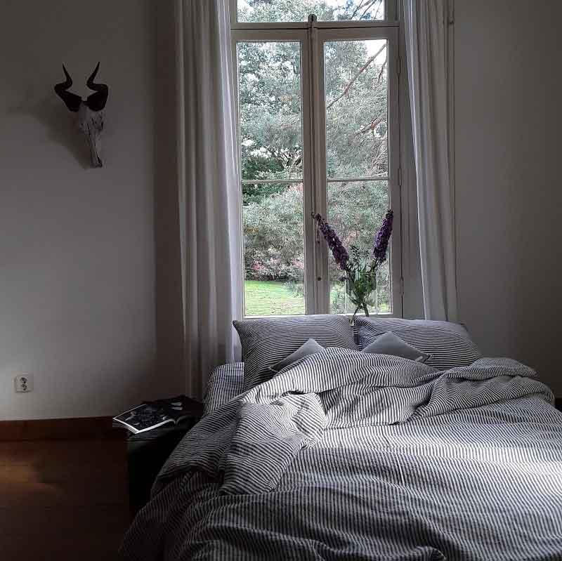 gestreept linnen dekbedovertrek Stripe Charcaol – Casa Homefashion