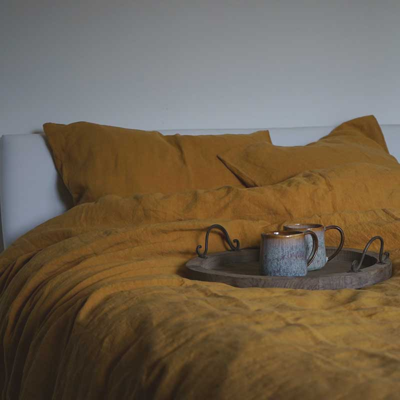 Linnen dekbedovertrek okergeel - Yellow Summer - Casa Comodo
