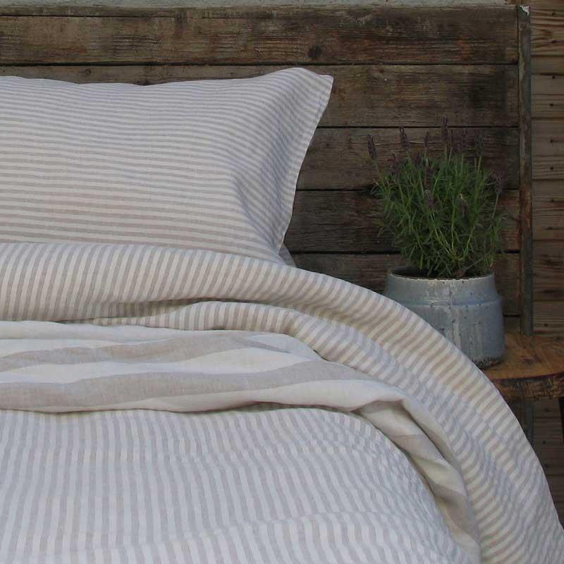 linnen dekbedovertrek gestreept zandkleur - wit - merk Casa Homefashion, online te koop bij Casa Comodo