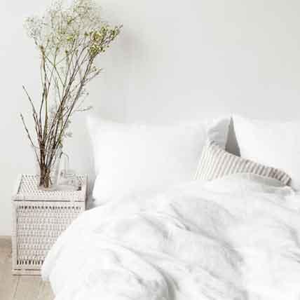 wit linnen dekbedovertrek White -Casa Comodo