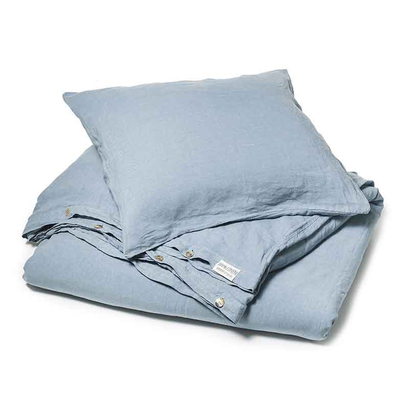 Blauw linnen dekbedovertrek Morning Blue - Casa Homefashion