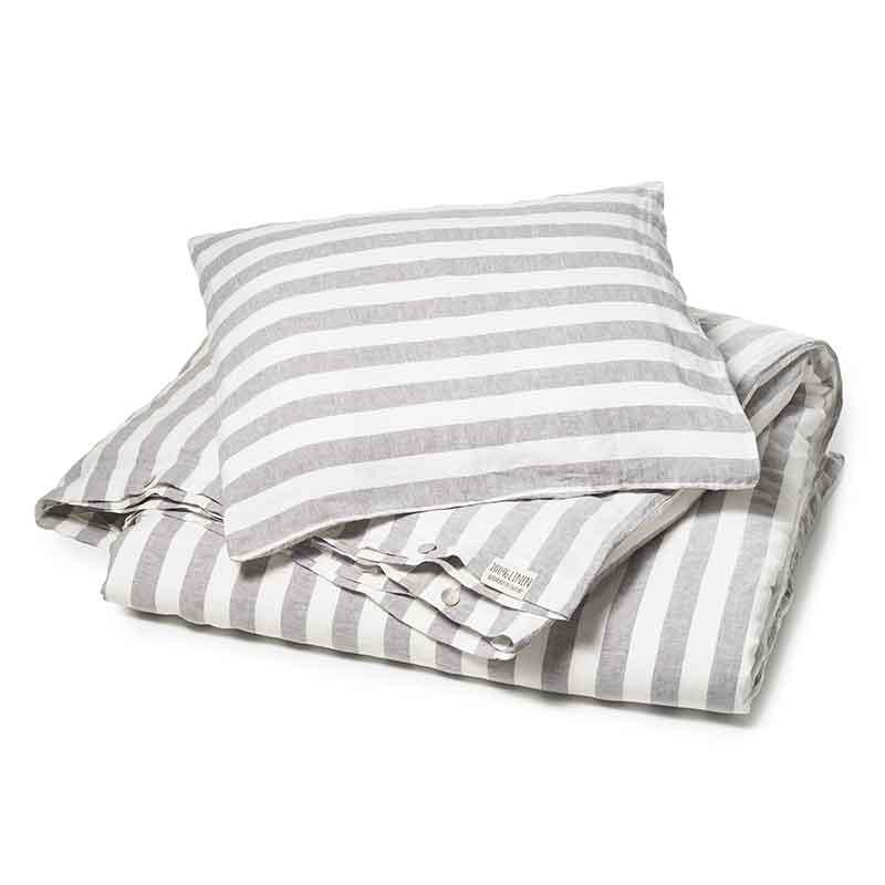 lichtgrijs gestreept linnen dekbedovertrek Dove Grey - Casa Homefashion