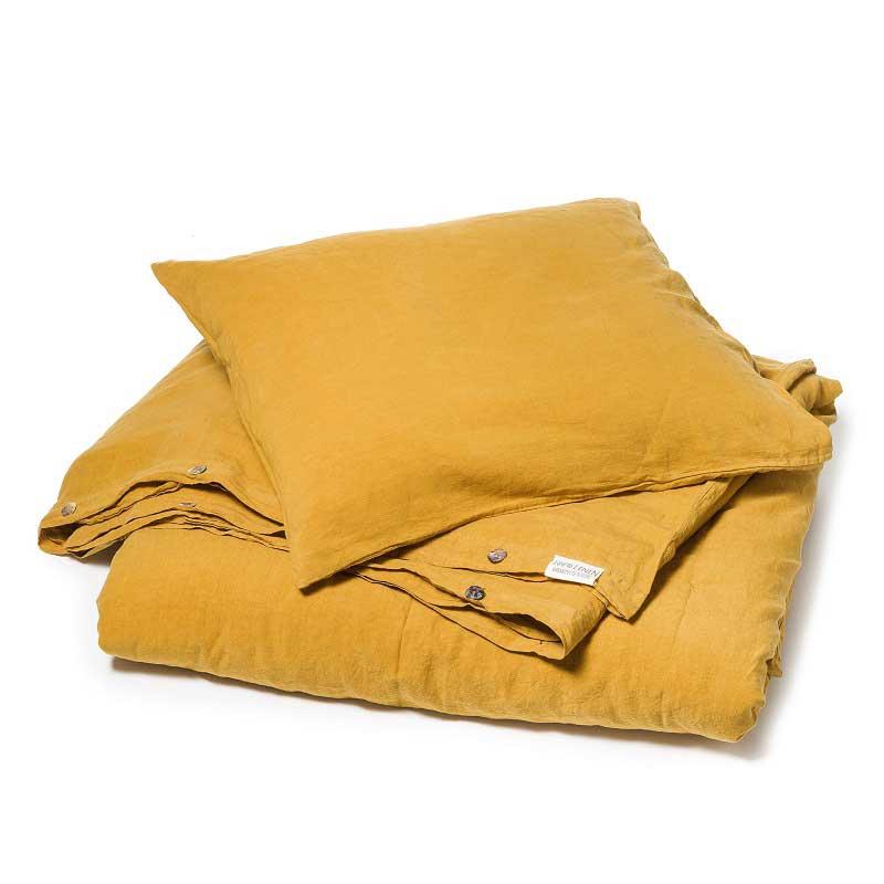 Okergeel stonewashes linnen dekbedovertrek Yellow Summer - merk Casa Homefashion