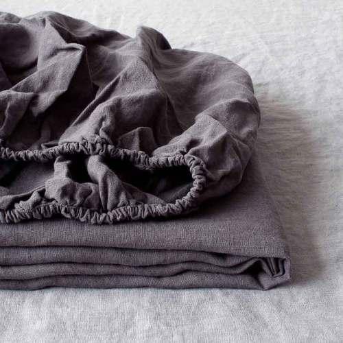 Donkergrijs linnen hoeslaken Charcoal - Casa Comodo