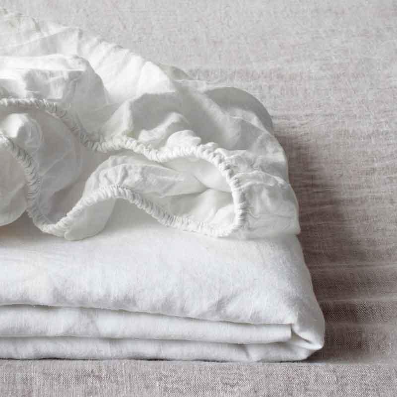 Wit linnen hoeslaken - Casa Comodo