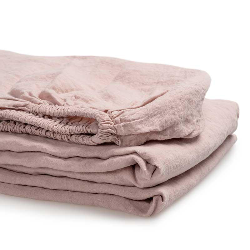 linnen hoeslaken roze