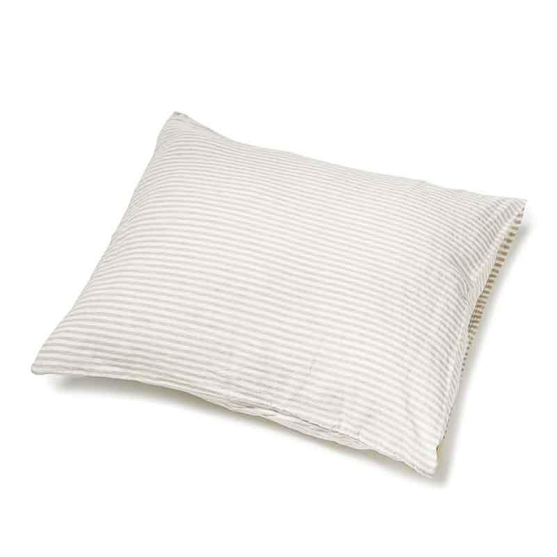 Zandkleurig-wit gestreept linnen kussensloop Stripe Naturel - Casa Homefashion