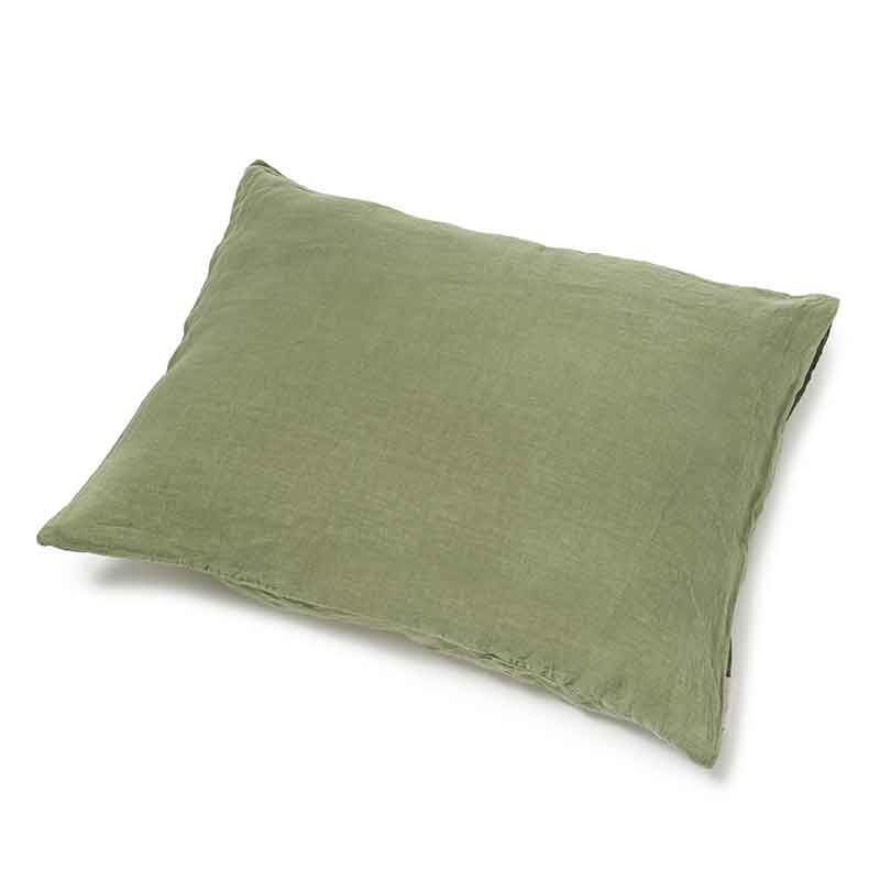 Dark green linen pillowcase Woodland Green - Casa Homefashion
